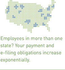 Employees in more than one state? Your payment and e-filing obligations increase exponentially.