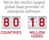 We're the world's largest global Saas provider of enterprise software. 80 countries. 18 million users.