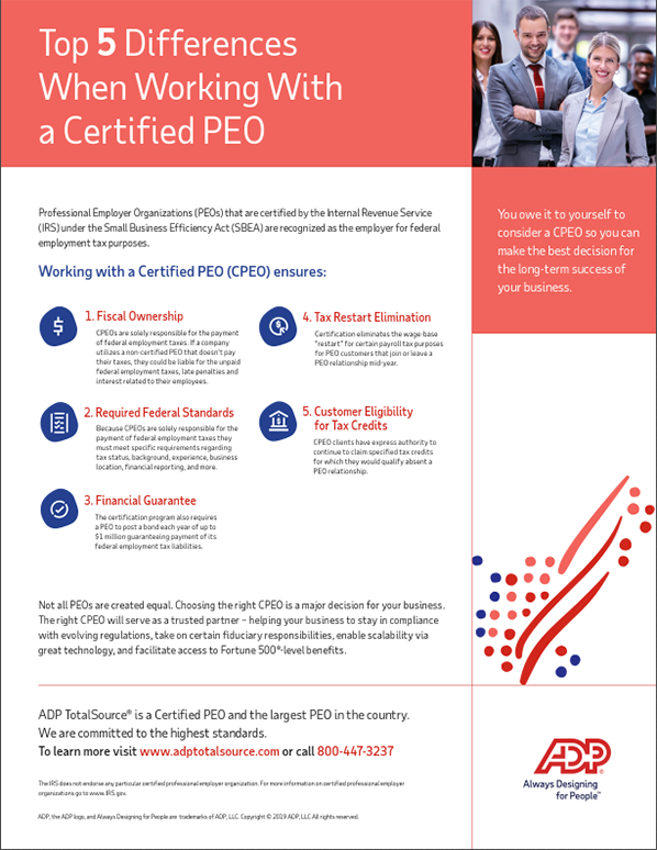 Infographic - Top 5 Differences When Working With a Certified PEO