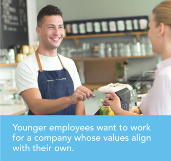 Younger employees want to work for a company whose values align with their own.