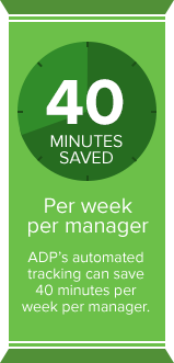 ADP's automated tracking can save 40 minutes per week per manager