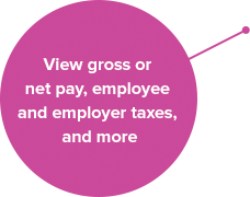 View gross or net pay, employee and employer taxes, and more