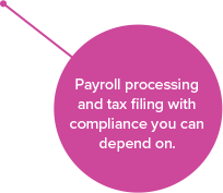 Payroll processing and tax filing with compliance you can depend on.