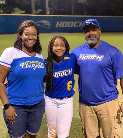 Walker family at softball field