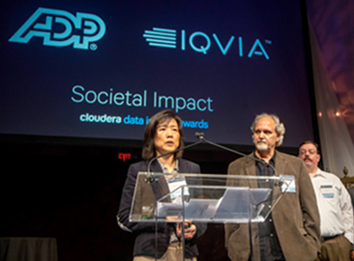 Data Scientists, Xiaojing Wang and Jim Haas of ADP accept the Cloudera