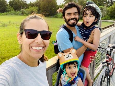 Tashina Charagi with family biking