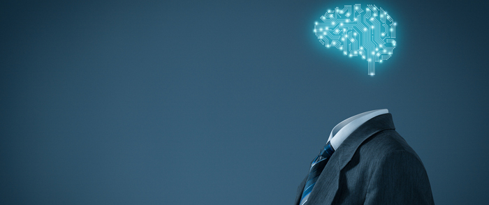 AI concept, a business suit with an artifical brain.