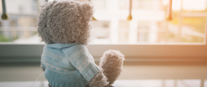 A teddy bear sits alone in a room as the sun rises.