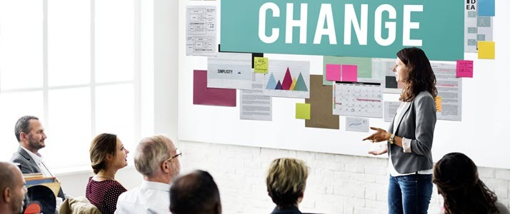 A business woman presents ideas for change