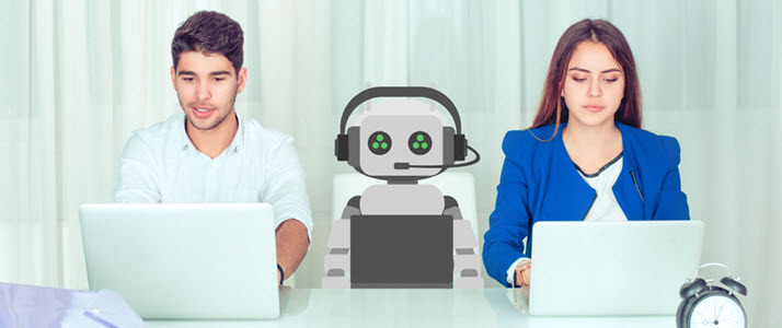 male and female and robot side by side on laptops