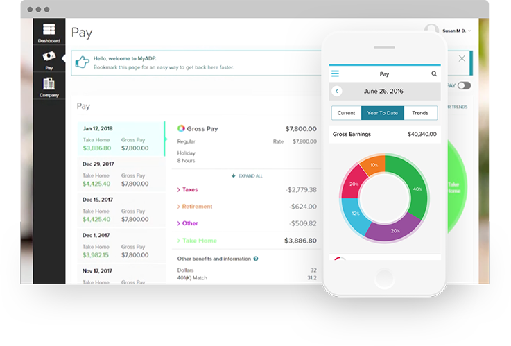 ADP payroll dashboard and mobile.