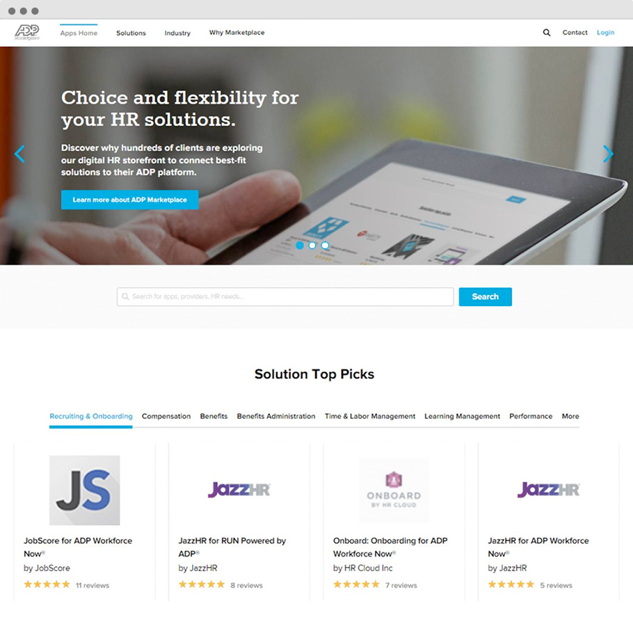 The ADP Marketplace apps and more.