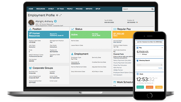 ADP WorkforceNow dashboard and mobile app
