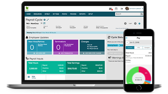 ADP Comprehensive Services desktop dashboard and mobile app