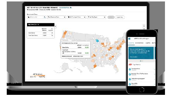 ADP DataCloud desktop dashboard and mobile app
