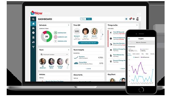 ADP Vantage HCM desktop dashboard and mobile app