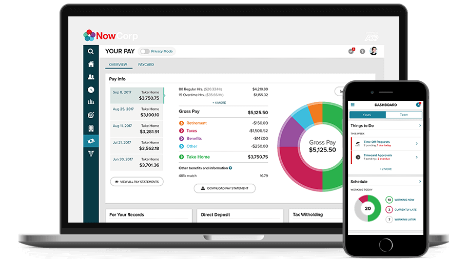 ADP TotalSource/PEO desktop dashboard and mobile app.