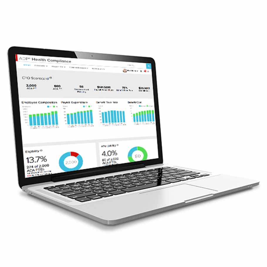 ADP Vantage HCM ACA compliance laptop dashboard