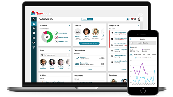 ADP Comprehensive Outsourcing Services desktop dashboard and mobile app.