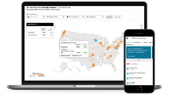 ADP DataCloud desktop dashboard and mobile app
