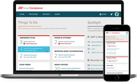 ADP SmartCompliance desktop dashboard and mobile app
