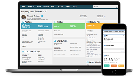 ADP Workforce Now desktop dashboard and mobile app
