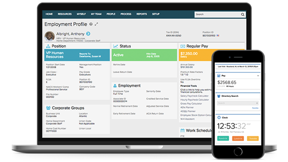 ADP WorkforceNow desktop dashboard and mobile app