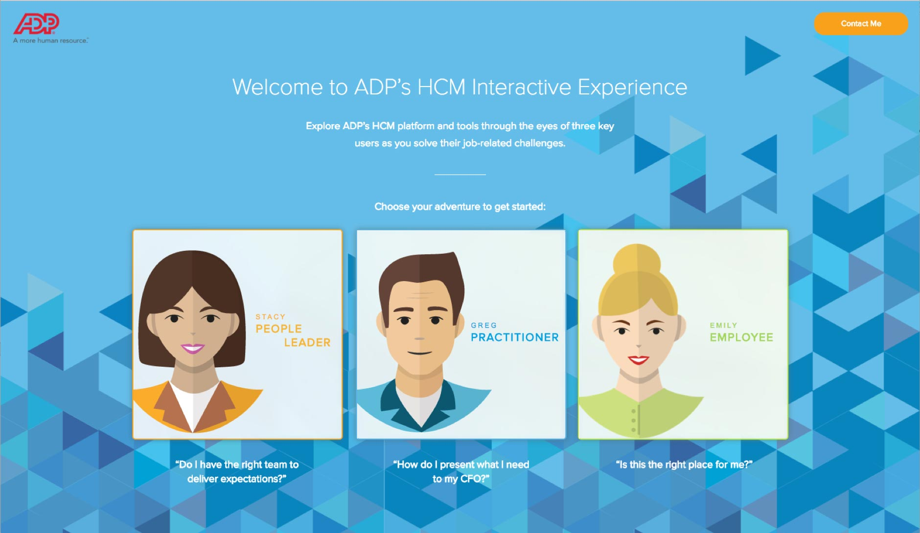 ADP large business payroll and HR solutions interactive experience demo