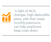 In light if ACA changes, high-deductible plans, with their lower monthly premiums, can help employers keep costs down.
