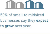 50% of small to midsized businesses say they expect to grow next year.