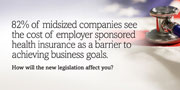 82% of midsized companies see the cost of employer sponsored health insurance as a barrier to achieving business goals. How will the new legislation affect you?